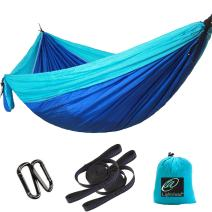 Lightahead Single & Double Parachute Portable Camping Hammock Including 2 Straps & Carabiners– Heavy Duty Lightweight Nylon, Best Parachute Hammock for,Camping, Travel, Beach, Garden.
