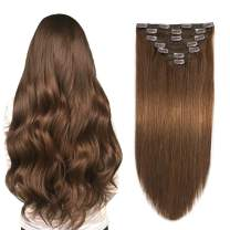 SUYYA Clip in Human Hair Extensions Chocolate Brown 18 inches 7pcs 120g Straight Double Weft Clip in Human Hair Extensions Remy Human Hair(18 inches #4 Dark Brown)