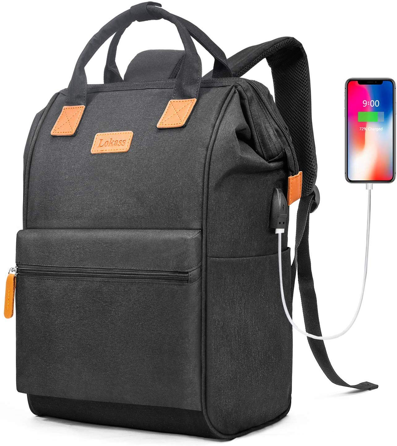 BRINCH Laptop Backpack 17.3 Inch Wide Open Computer Backpack Laptop Bag College Rucksack Water Resistant Business Travel Backpack Multipurpose Casual Daypack with USB Charging Port for Women Men,Black