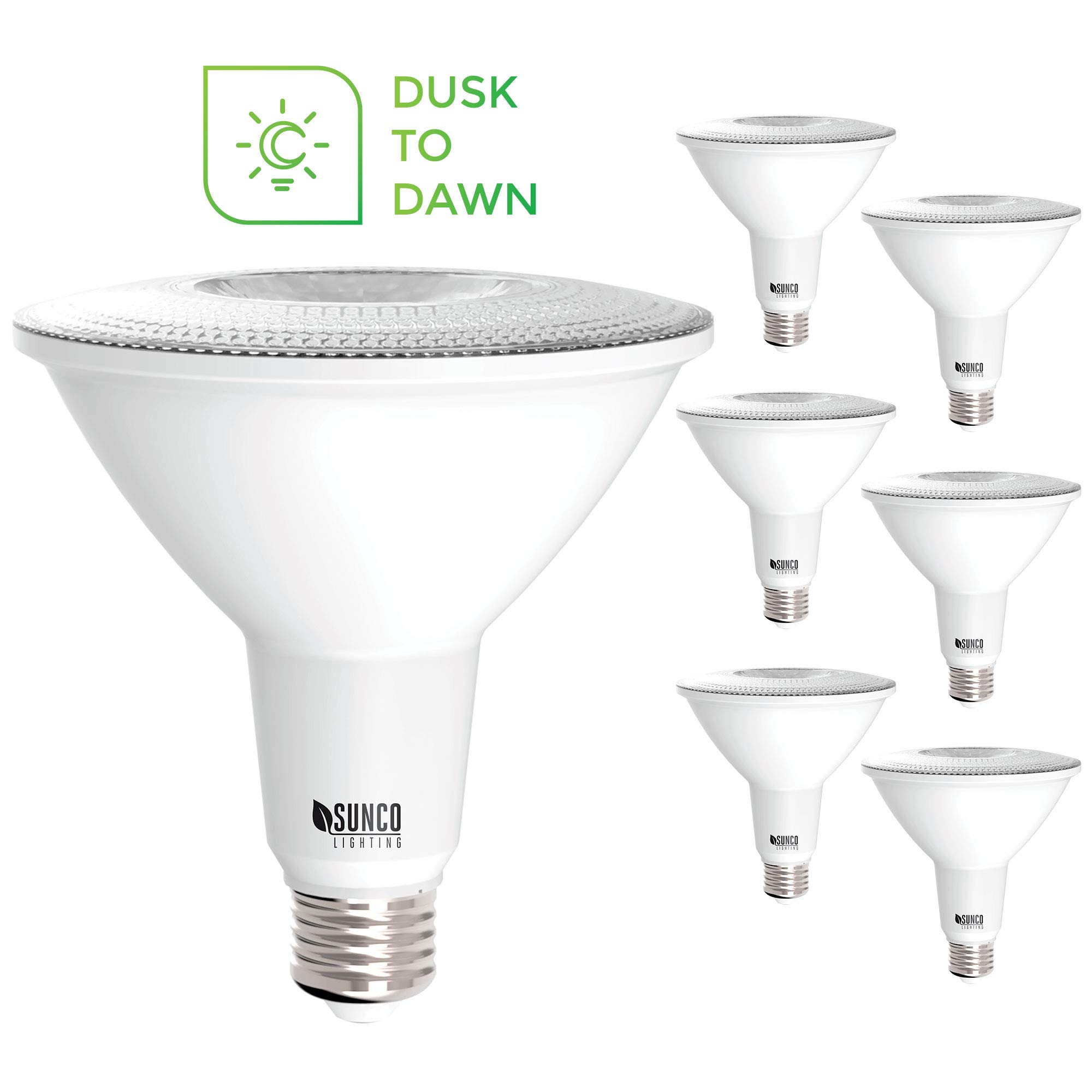 Sunco Lighting 6 Pack PAR38 LED Bulb with Dusk-to-Dawn Photocell Sensor, 15W=120W, 4000K Cool White, 1250 LM, Auto On/Off, Security Flood Light Indoor/Outdoor - UL