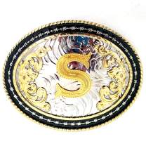 Western Belt Buckle Initial Letters ABCDMJR to Z-Cowboy Rodeo Gold Large Belt Buckle for Men