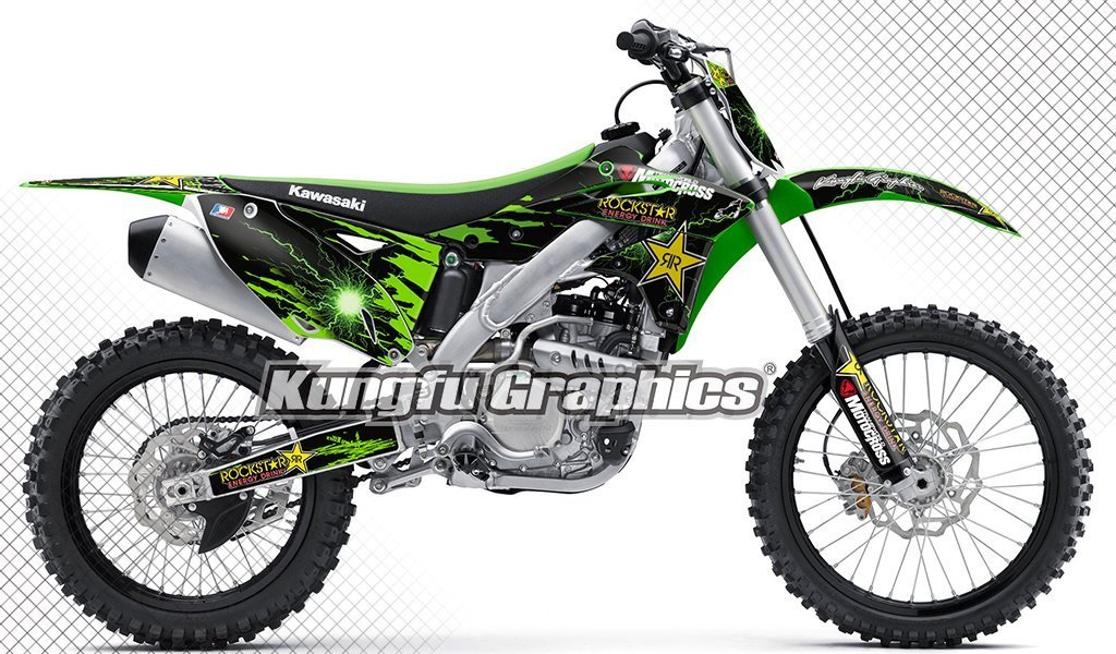 Kungfu Graphics Custom Decal Kit for Kawasaki KX250F KXF250 KXF 250 KX 250F 2013 2014 2015 2016, Black Green, Style 002