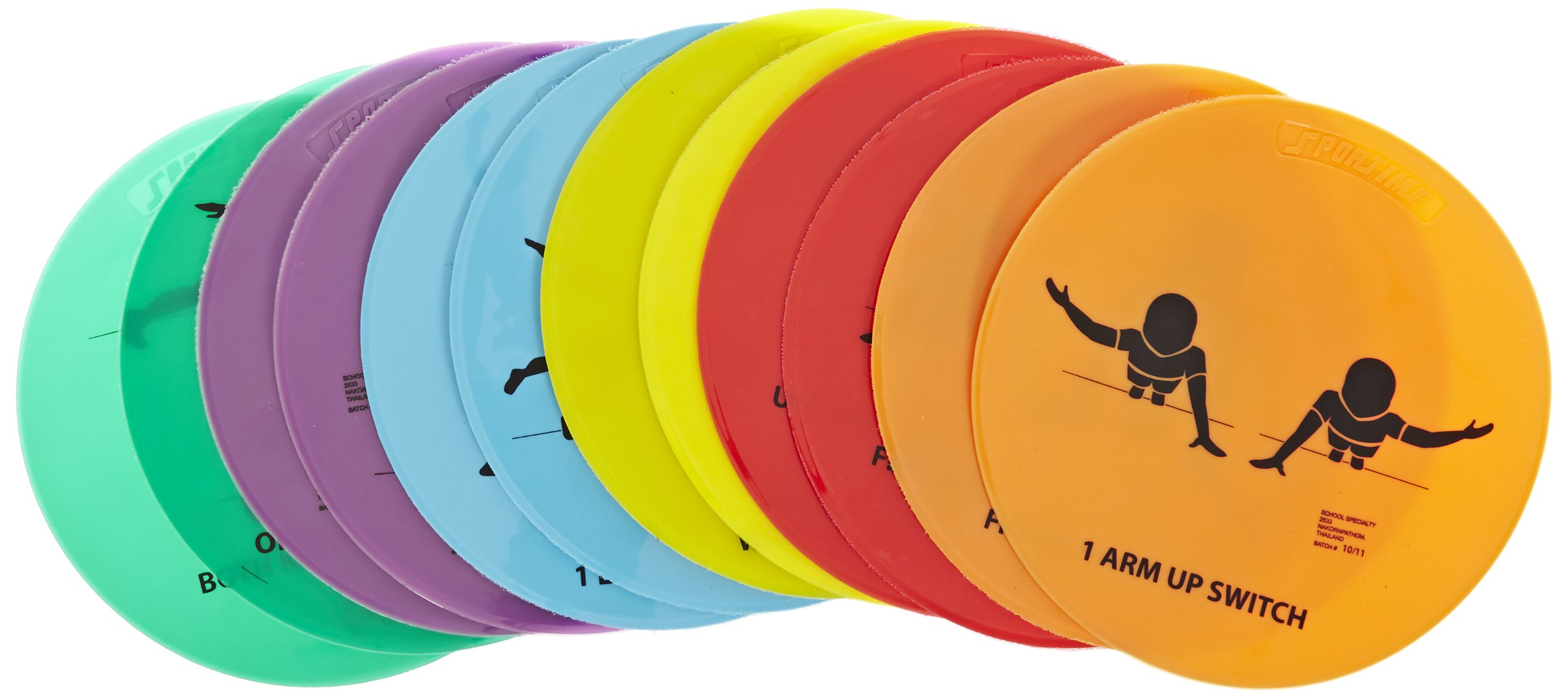Sportime Strength Spots, 10 Inches, Set of 12 - 1403355,Assorted Colors