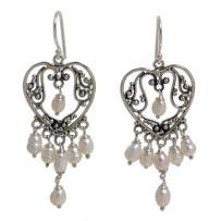 NOVICA White Cultured Freshwater Pearl .925 Sterling Silver Chandelier Earrings 'Heart Symphony'