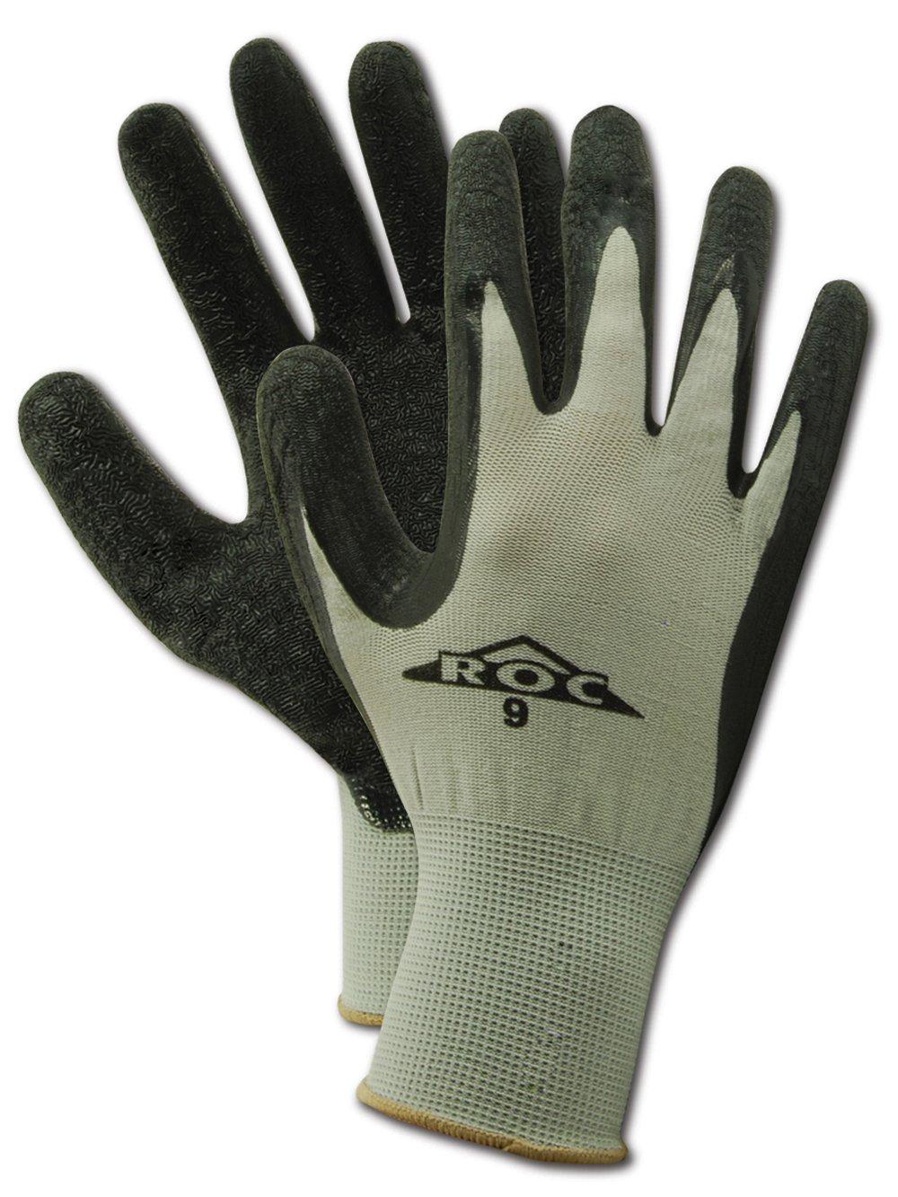 "MAGID ROC GP190 Nylon Glove, Black Latex Palm Coating, Knit Wrist Cuff, 10.5"" Length, Size 11  (12 Pair)"