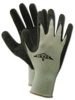 "MAGID ROC GP190 Nylon Glove, Black Latex Palm Coating, Knit Wrist Cuff, 9.5"" Length, Size 8  (12 Pair)"