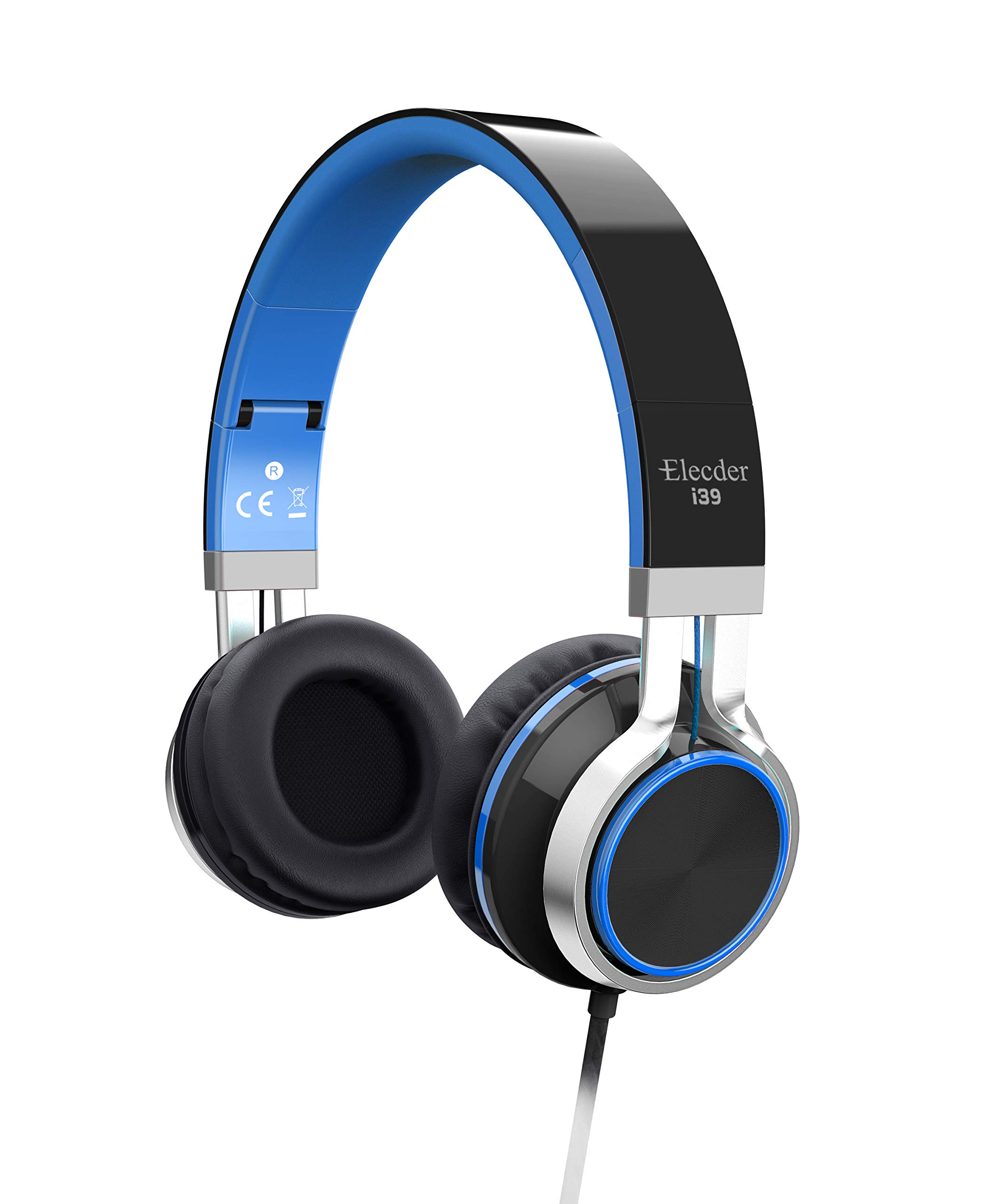 Elecder i39 Headphones with Microphone Foldable Lightweight Adjustable On Ear Headsets with 3.5mm Jack for iPad Cellphones Computer MP3/4 Kindle Airplane School Blue/Black