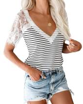 ETCYY NEW Women's Summer V Neck Lace T Shirts Casual Striped Cami Tops Short Sleeve Loose Tunic Blouse