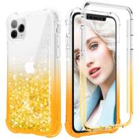 Maxdara Case for iPhone 11 Pro 360 Full-Body Case with Built-in Screen Protector Sparkly Bling Liquid Rugged Shockproof Protective Case Cover for iPhone 11 Pro 5.8 inches (Gold)