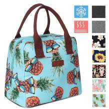 DIIG Lunch Box for Women, Insulated Lunch Bags for Women, Large Cooler Tote For Work, Floral Reusable Snack Bag with Pocket, Sunflower Printing/Gray/Black/White (Pineapple)