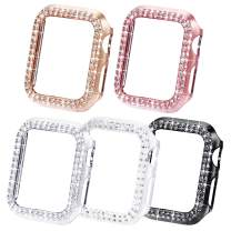 NewWays Bling Cases Compatible for Apple Watch 38mm 40mm 42mm 44mm, Protective Bumper for iWatch Series 5 4 3 2 1 (38mm, Black/Pink/Rose Gold/Silver/Clear)