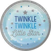 Creative Converting 323422 96Count Sturdy Style Dessert/Small Paper Plates, One Little star- Boy Twinkle, One Little Star - Boy