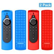 "MoKo [2 Pack Protective Remote Case Compatible for Fire TV Stick 4K, Fire TV Cube, Fire TV (3rd Gen) with 5.6"" Alexa Voice Remote (2nd Gen), [Anti-Slip] Shockproof Silicone Cover Case - Blue & Red"