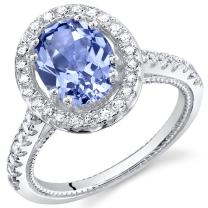Simulated Tanzanite Sterling Silver Halo Ring