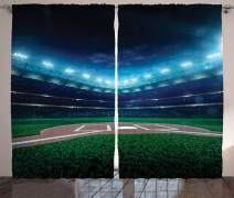 "Ambesonne Baseball Curtains, Professional Baseball Field at Night Vibrant Playground Stadium League Theme Print, Living Room Bedroom Window Drapes 2 Panel Set, 108"" X 63"", Blue Green"
