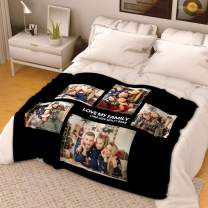 """VEELU Personalized Throw Blanket Super Soft for Baby & Adult Custom Collage Fleece Blanket with My Own Photos Names Pictures Birthday Wedding Gift 55""""x80"""""""