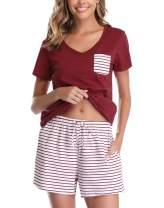 Vlazom Women's Pajama Sets V-Neck Shorts Pjs Set Short Sleeve Sleepwear Loungewear with Pockets & Drawstring