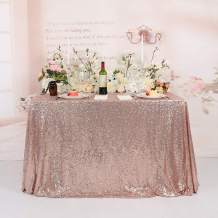 TRLYC Seamless 62 by 105 Inch Rectangle Sequin Tablecloth for Party Cake Dessert Table Exhibition Events-Rose Gold