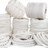 GOLBERG Twisted 100% Natural Cotton Rope - White Cotton Rope - (3/4 Inch x 10 Feet)
