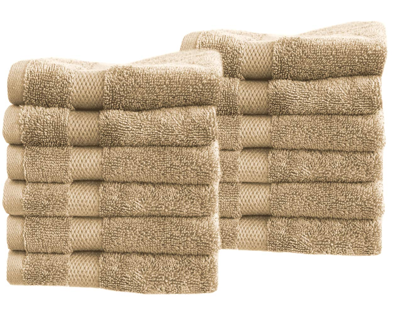"""Cotton & Calm Exquisitely Fluffy Washcloths/Face Cloths Towel Set (12 Pack, 13"""" x1 3""""), Premium Beige Washcloths - Super Soft, Thick, and Absorbent for Face, Hand, Spa & Gym"""