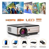 "Home Theater HD Projector 4200 Lumen 1080P 200""Display Supported Digital LED Video Projector with HiFi Speakers, Zoom, Keystone Correction, HDMI, USB, AV, VGA for Movie Indoor Entertainment"