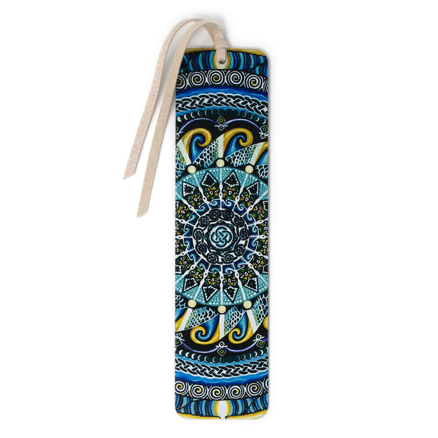 Guardian of Water - Large - Painting by Gaia Woolf-Nightingall - Wooden Bookmark with Suede Tassel