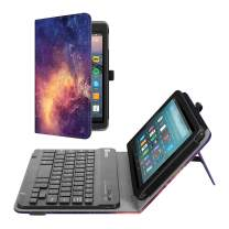 Fintie Folio Keyboard Case for All-New Amazon Fire 7 (9th Generation, 2019 Release), Slim Fit PU Leather Stand Cover with All-ABS Hard Material Removable Wireless Bluetooth Keyboard, Galaxy