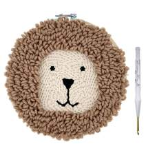 Wool Queen Punch Needle Starter Kit | Animal Rug Hooking Beginner Kit, with an Adjustable Embroidery Pen and 8.0'' Bamboo Hoop-Lion W