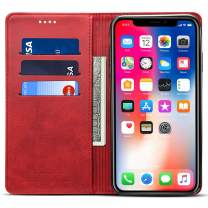 iPhone 6/6S Leather Wallet Phone Case iPhone Case with Card Holder Kickstand Protective Flip Cover Red Cover