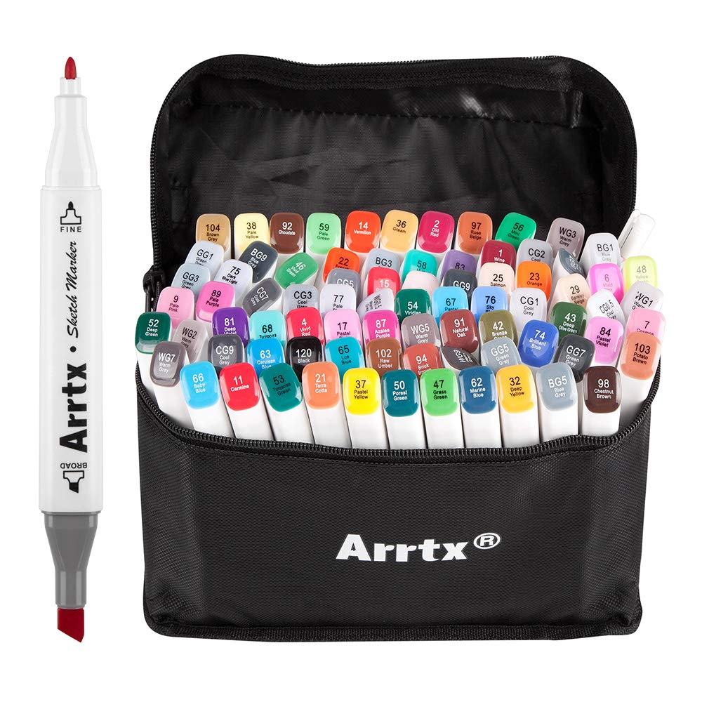 Arrtx 80 Set Alcohol Based Markers, Dual Tip Graphic Drawing Art Markers with Carry Bag, Perfect for Artists Adults Kids Coloring Graphic Drawing Sketching Painting Design Draft