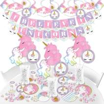 Big Dot of Happiness Rainbow Unicorn - Magical Unicorn Baby Shower or Birthday Party Supplies - Banner Decoration Kit - Fundle Bundle