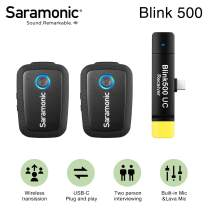 Saramonic Blink500 B6 2.4GHz Ultracompact Wireless Lavalier Microphone System 2 Transmitter 1 Receiver Plug&Play USB-C Receiver for Android Devices