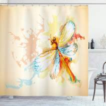 "Ambesonne Dragonfly Shower Curtain, Watercolor Moth with Branch Print Wings on Abstract Backdrop, Cloth Fabric Bathroom Decor Set with Hooks, 84"" Long Extra, Yellow Peach"