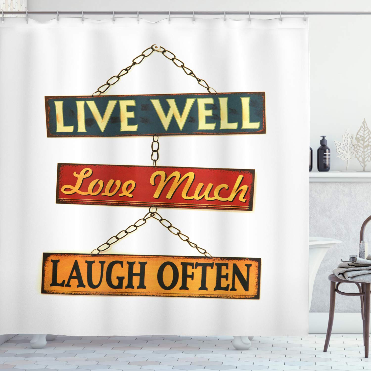 """Ambesonne Live Laugh Love Shower Curtain, Live Well Love Much Laugh Often Words Rusty Signs Tied with Chains Print, Cloth Fabric Bathroom Decor Set with Hooks, 75"""" Long, Red Yellow"""