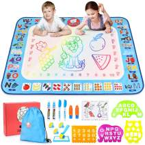 Gamenote Aqua Magic Doodle Mat - 40x30 Extra Large Water Drawing Mats No Mess Coloring Educational Painting Toys for Toddlers Boys Girls Age 3 4 5 6 7 8 Year Old