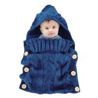 Colorful Newborn Baby Wrap Swaddle Blanket, Oenbopo Baby Kids Toddler Knit Blanket Swaddle Sleeping Bag Sleep Bag Stroller Wrap for 0-12 Month Baby (Blue)