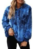 SENSERISE Womens Oversized Tie Dye Sherpa Hoodie Fuzzy Sweatshirts Pullover with Pockets