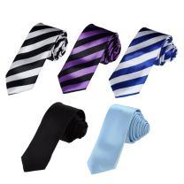 Dan Smith Men's Fashion Slim Necktie Set of 5 Patterns Skinny Tie With Box