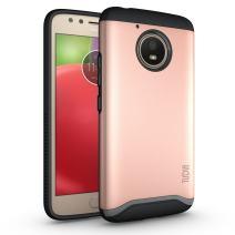 Moto E (4th Generation) Case, TUDIA Slim-Fit Heavy Duty [Merge] Extreme Protection/Rugged but Slim Dual Layer Case for Motorola Moto E4 (Rose Gold)