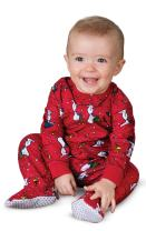 PajamaGram Infant Christmas Pajamas Soft - Charlie Brown & Friends Baby Onesie