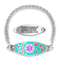 Divoti Custom Engraved Medical Alert Bracelets for Women, Stainless Steel Medical Bracelet, Medical ID Bracelet w/Free Engraving – Loving Heart Tag w/Stainless Handmade Byzantine-Purple