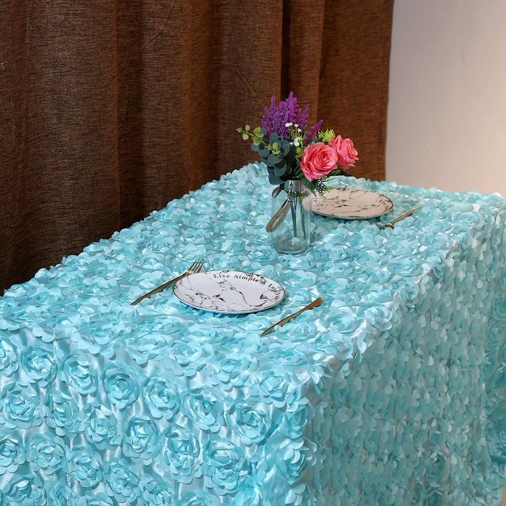 B-COOL 60 x 102 Rosette Tablecloth 3D Floral Tablecloths for Rectangle Satin Rose Table Linen Baby Blue Party Table Cover