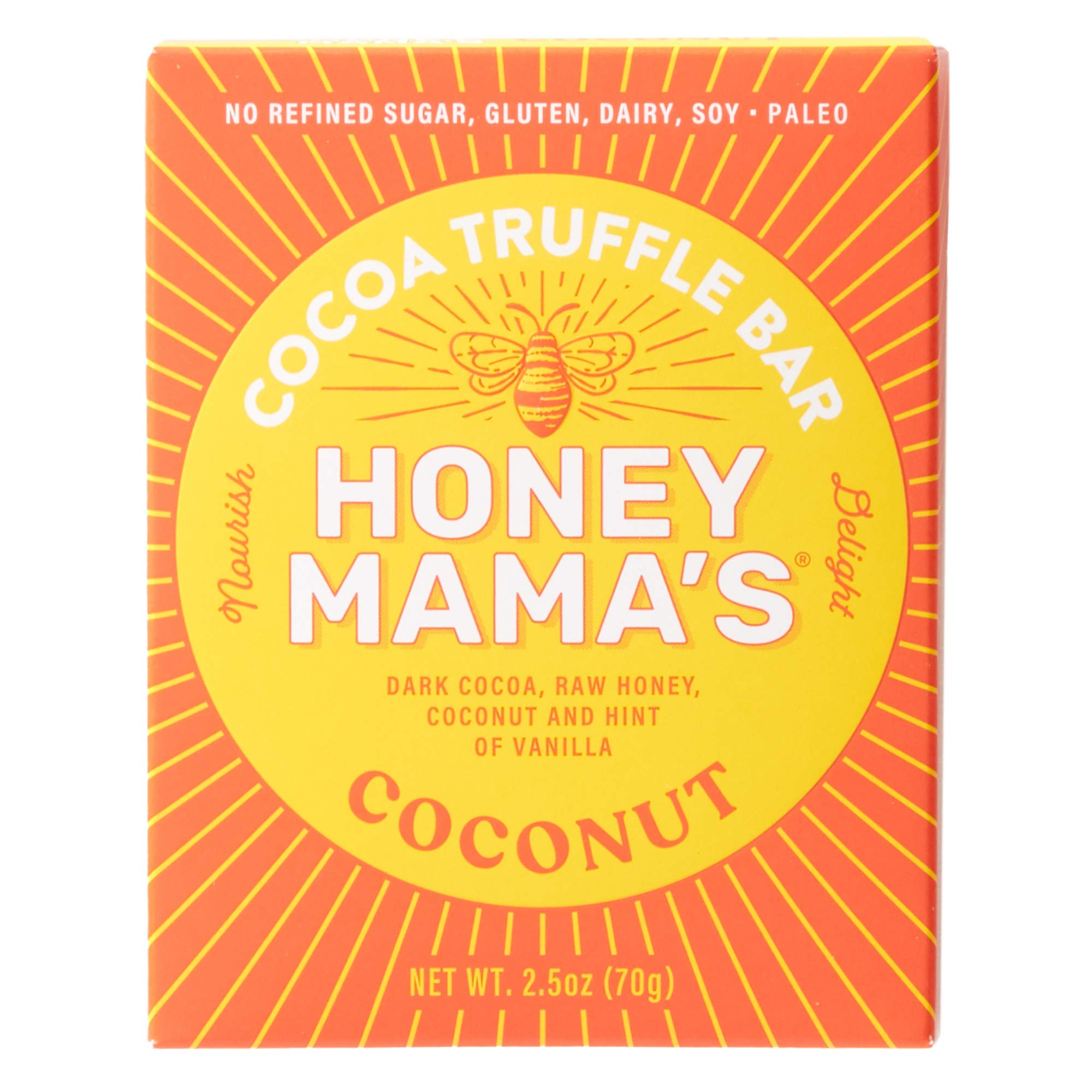 Honey Mama's Refrigerated Cocoa Truffle Bar, Coconut Bar, 2.5 oz (Pack of 12)