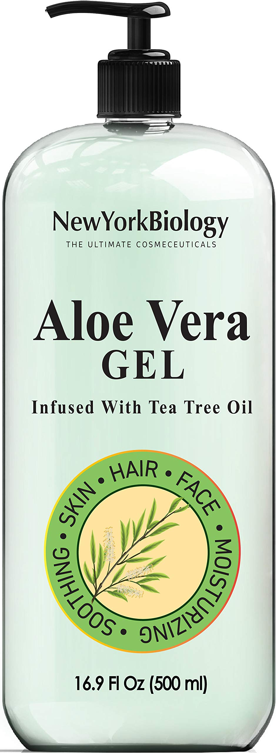 New York Biology Aloe Vera Gel for Skin Face and Hair - Infused with Tea Tree Oil – From Fresh Aloe Vera Plant – Antifungal Gel Helps Remove, Clean Germs, Bacteria from Skin, Hands, Face - HUGE 16 oz