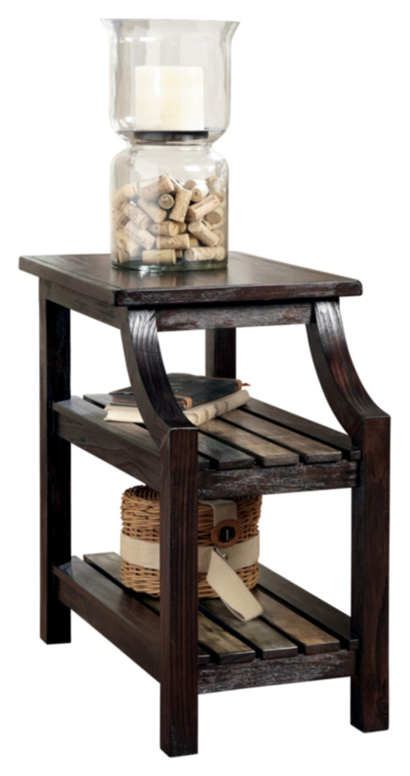 Signature Design by Ashley - Mestler Rustic Chairside End Table w/ Two Fixed Multi-Colored Shelves, Brown