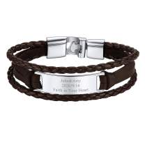 FOCALOOK Personalized Family Name Bracelets for Men Women Black/Brown Layered Braided Leather with Metal Alloy Charms Bangle Custom BFF Jewelry