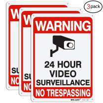 "Video Surveillance Sign, MOLAER 3-Pack No Trespassing Signs, 10"" x 7"" UV Printed Waterproof Reflective 40 Aluminum Material, for Outdoor Security Camera Warning"