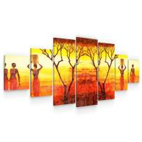 STARTONIGHT Large Canvas Wall Art - African Women at Sunset - Huge Framed Modern Set of 7 Panels 40 x 95 Inches