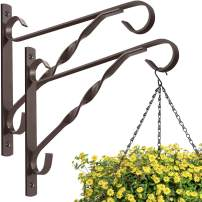 Amagabeli 2 Pack Hanging Plants Brackets 10'' Wall Planter Hooks Hangers Flower Pot Bird Feeder Wind Chimes Lanterns Patio Lawn Garden for Shelf Outdoor Indoor Fence Wall with Screws Metal Bronze