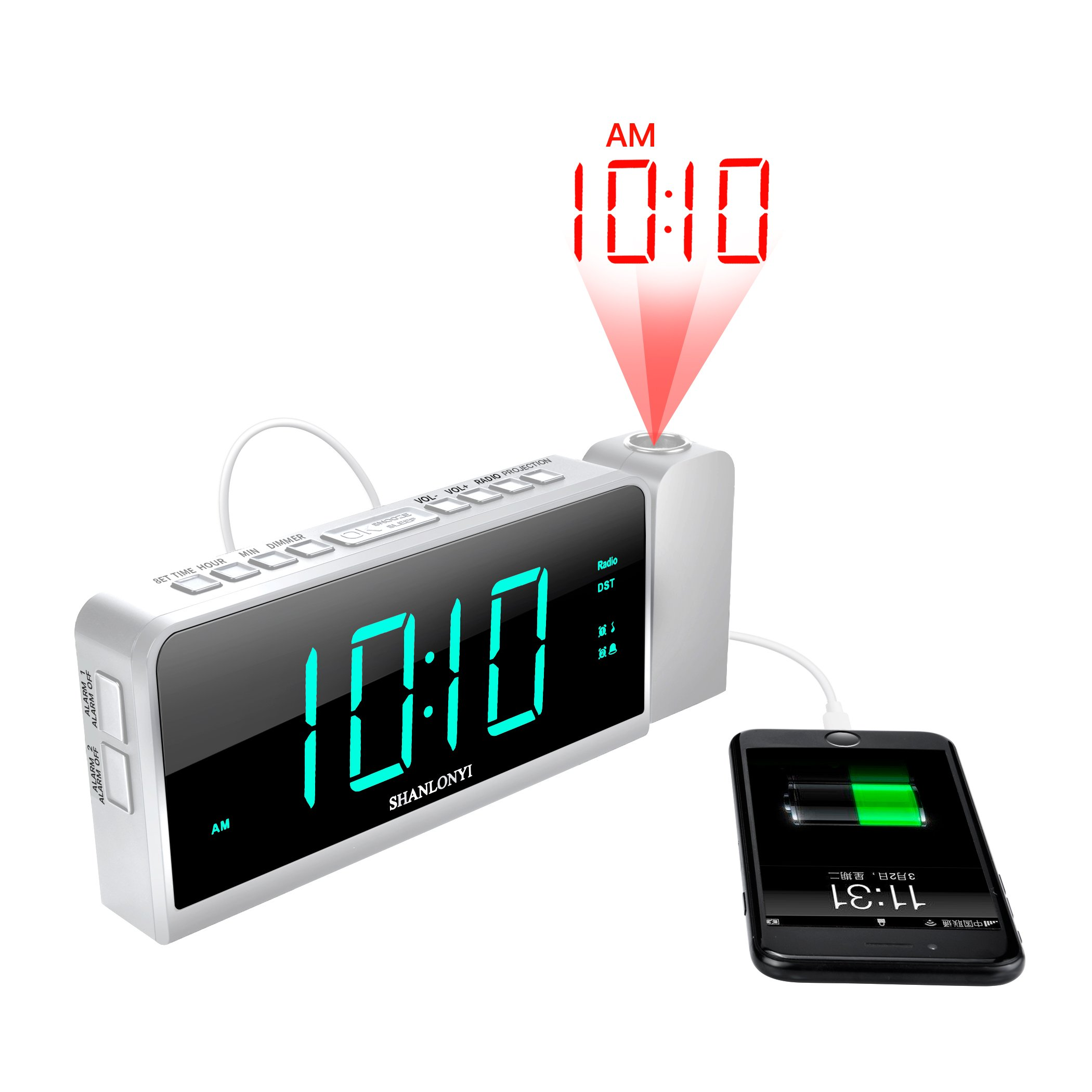 """Projection Alarm Clock with AM/FM Radio, 180°Projector, 7"""" LED Digital Ceiling Display, Easy to Use, Clear Cyan Digit, 3 Dimmer, Digital Alarm Clock with USB Phone Charger, Battery Backup for Bedroom"""